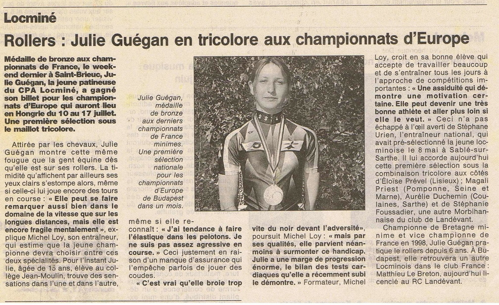 Julie Guegan en équipe de France 1998